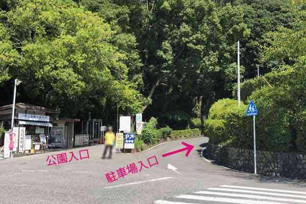 上野公園第一駐車場への曲がり角