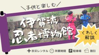 伊賀流忍者博物館にいる忍者衣装の子供