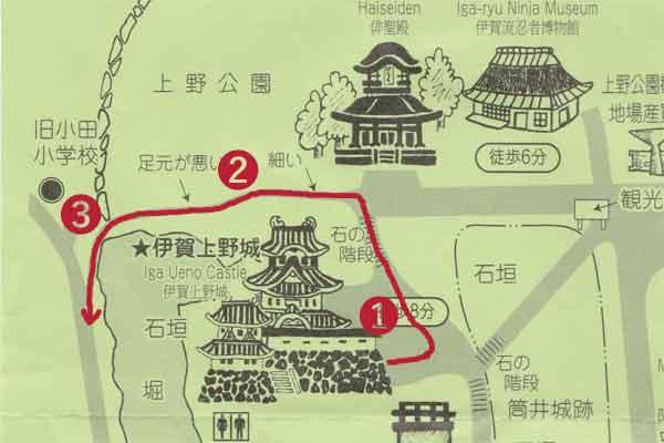 伊賀上野城の地図