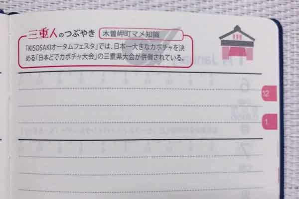 三重県民手帳2020週間スケジュール右ページ