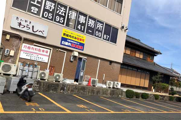 たい焼きわらしべ伊賀上野店の駐車場