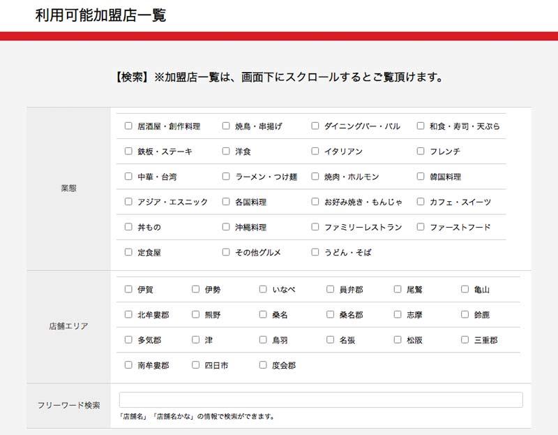 gotoイート三重県のお店の探し方